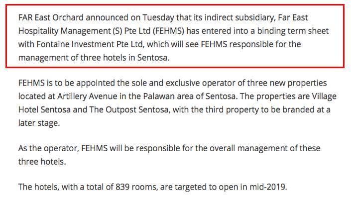 更好管理!远东酒店控股管理新加坡圣淘沙三新酒店!