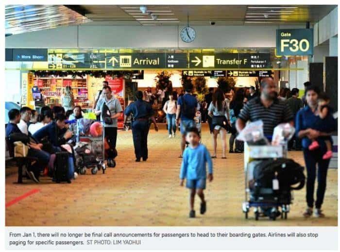 """""""宁静机场计划"""",新加坡樟宜机场下月起停止登机广播服务!"""