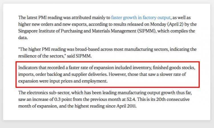新加坡3月份新订单与出口增加,制造业连续19个月扩张!