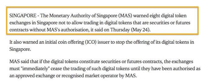 注意了!新加坡金融管理局停止一家公司进行ICO!
