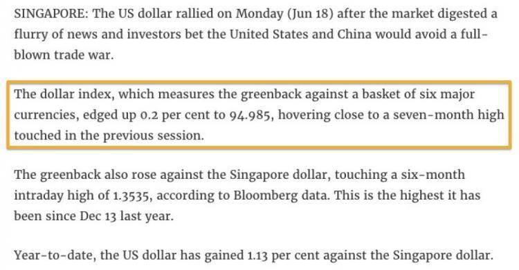 美元兑一揽子货币,升至七个月来新高!