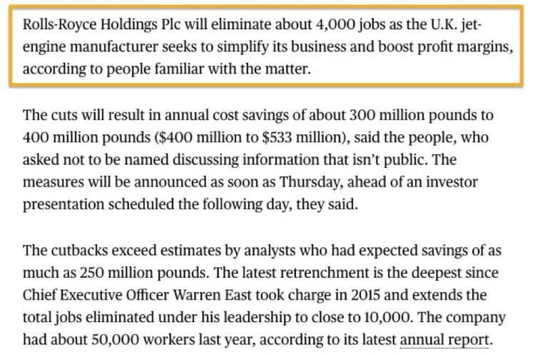 劳斯莱斯将削减4000多份工作 以增加盈利