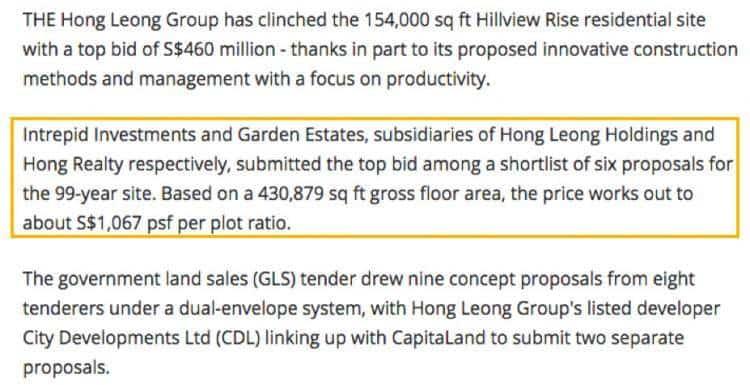 丰隆集团旗下公司4.6亿新币标获山景坡地段!