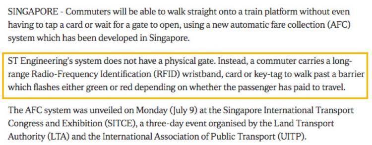 新加坡展出新无闸门收费系统,扫脸即可进出地铁站!!
