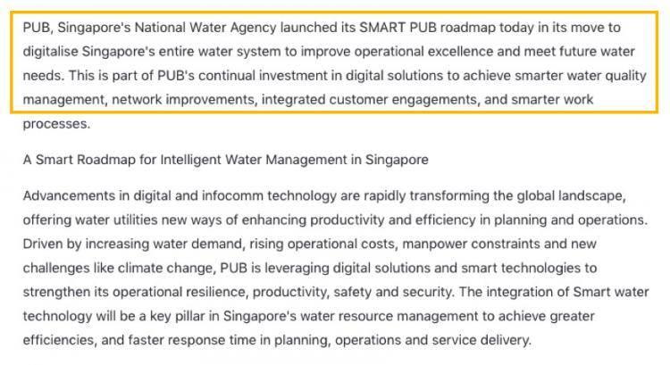 新加坡公用局智能科技蓝图,推动新加坡水务系统数码化