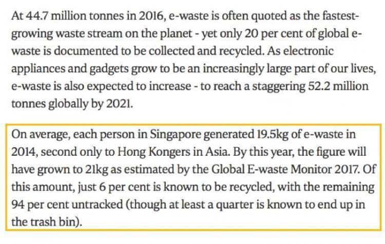 新加坡首个金属回收设施可回收22万公吨金属! 英文版新加坡公司注册小知识 来自新加坡福智霖投资资讯 00:0001:55 平均而言,新加坡每个人在2014年产生了19.5公斤的电子垃圾,仅次于亚洲的香港人。根据2017年全球电子废物监测计划的估计,这一数字将增长到21公斤。其中,只有6%被称为可回收利用,其余94%未被追踪(尽管至少有四分之一是已知最终进入垃圾桶)。 根据新加坡8频道新闻,联合早报,海峡时报报道,为延长实马高垃圾埋置场的使用期,新加坡政府积极推进回收垃圾焚化底灰,以减少送到埋置场的垃圾新加坡国家环境局日前进行招标,探讨将回收的垃圾焚化底灰,用作非结构混凝土或公路底基材料的可能性,并邀请业者展示技术方案。 一家位于新加坡大士南的金属回收设施每天处理1600公吨的垃圾焚化底灰。它是新加坡首个金属回收厂,2017年7月开始运作至今,已从垃圾焚化底灰中回收超过22万公吨金属。业者透露公司拥有其他回收垃圾焚化底灰的技术,因此参与了新加坡环境局的招标活动。 智霖君:环境保护,人人有责。这不是一句空话,是需要我们每一个人放在心上的责任。
