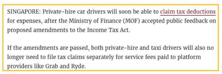 新加坡私召车司机可为开销申请扣税,顶限调高到60%!